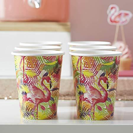 Paper Cups 8 Pack - Tropical Flamingo By Ginger Ray