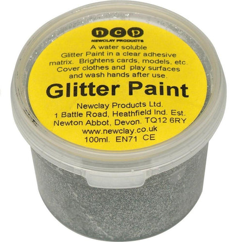 Newclay Glitter Paint 100ml Pot - Silver | Soren's House