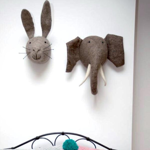 Fiona Walker Grey Hare Felt Animal Wall Head - Mini | Soren's House