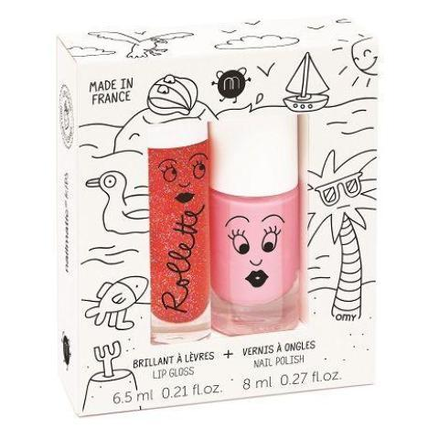Nailmatic Natural Lip Gloss & Varnish Duo - Holidays (Strawberry/Pink)