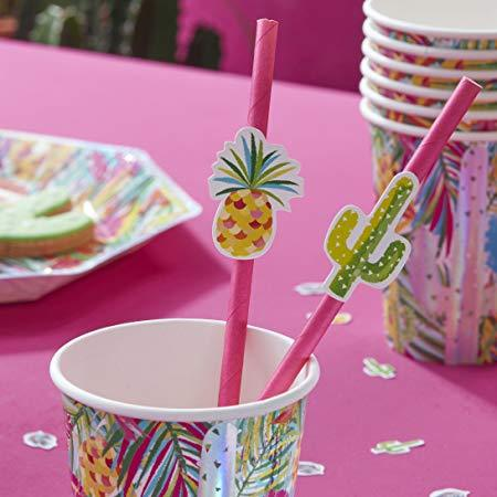 Paper Straws 16 Pack - Cactus & Pineapples By Ginger Ray