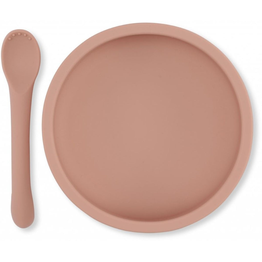 Konges Slojd Silicone Bowl & Spoon Set - Rose