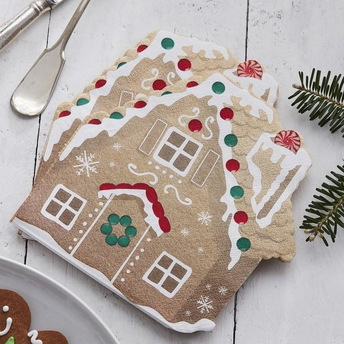Gingerbread House Shaped Paper Napkins - 16 Pack By Ginger Ray