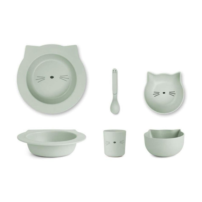 Liewood Barbara Bamboo Baby Tableware Set - Cat Dusty Mint