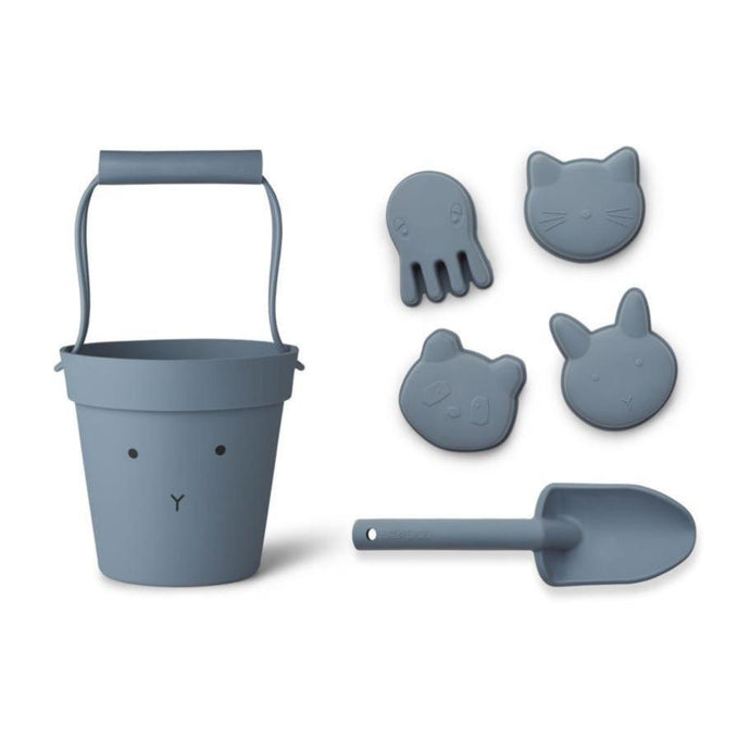Liewood Dante Silicone Beach Set - Rabbit Blue Wave