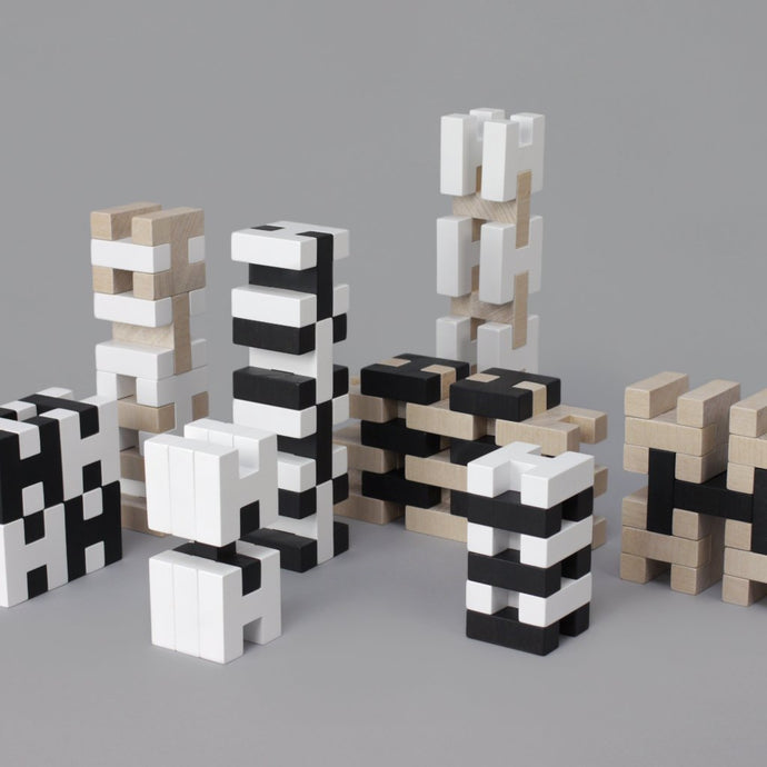 Wooden H Block Construction Set by Rock & Pebble - Black