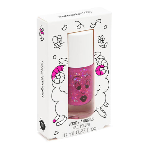 Nailmatic Wash Off Nail Varnish - Sheepy (Raspberry Glitter)