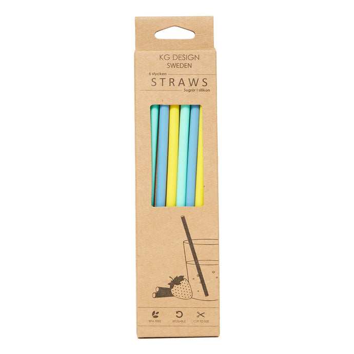 KG Design Silicon Reusable Drinking Straws - Blue Mix
