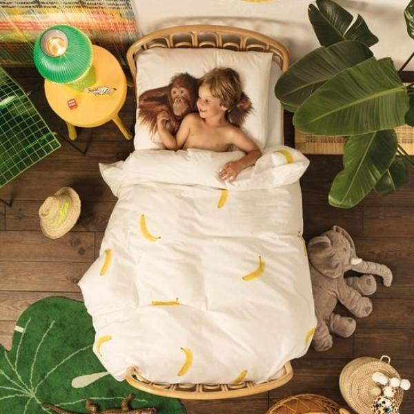 Snurk Banana Monkey Single Duvet Cover and Pillowcase Set
