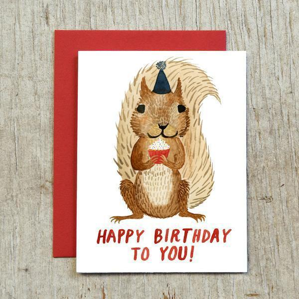 Squirrel Birthday Card by Little Truths Studio
