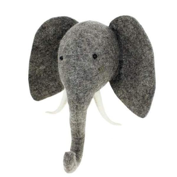 Fiona Walker Elephant With Trunk Up Felt Animal Head | Soren's House