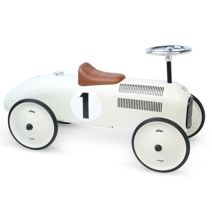 Vilac Metal Ride-On Vintage Racing Car - Off-White