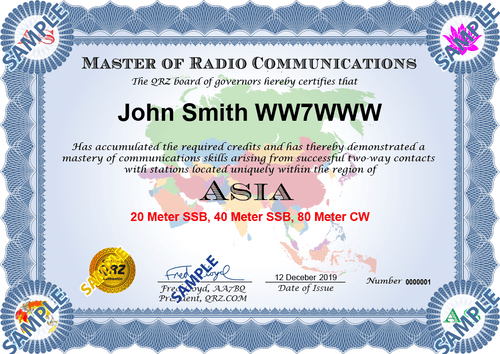 Award Certificate - Master of Radio Communications Asia