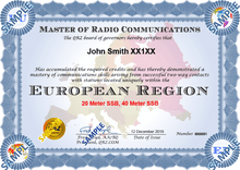 Load image into Gallery viewer, Award Certificate - Master of Radio Communications Europe