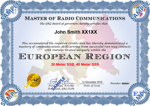 Award Certificate - Master of Radio Communications Europe