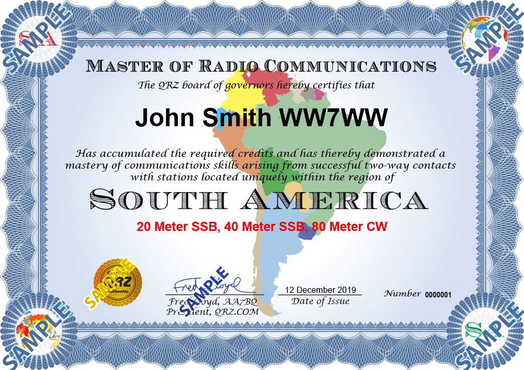 Award Certificate - Master of Radio Communications South America