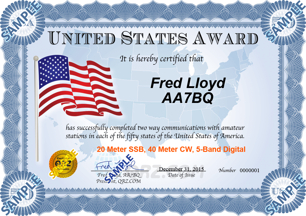 Award Certificate - United States Award