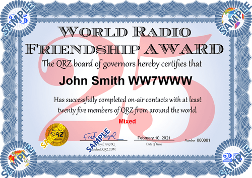 Award Certificate - World Radio Friendship