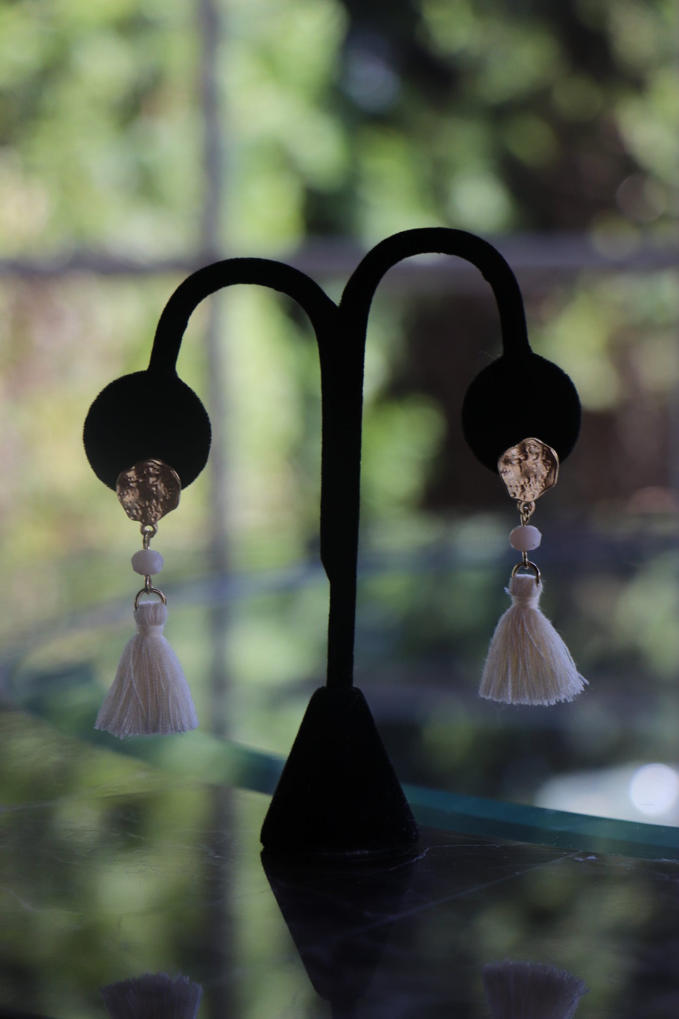 Gold Stud Tassel Earrings