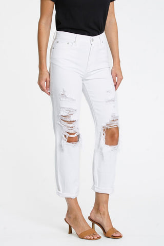 Presley High Rise Relaxed White Denim