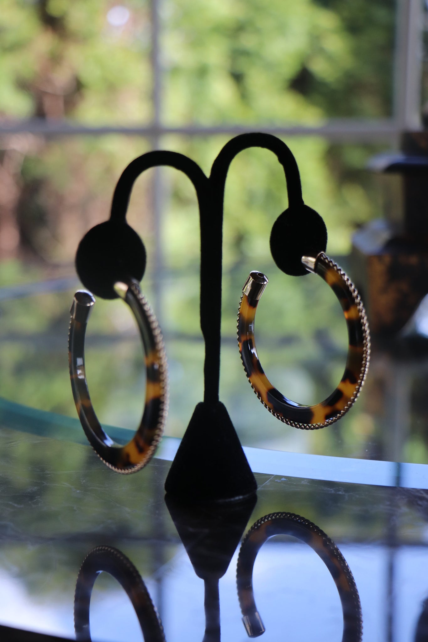 Tortoise Studded Hoop Earrings