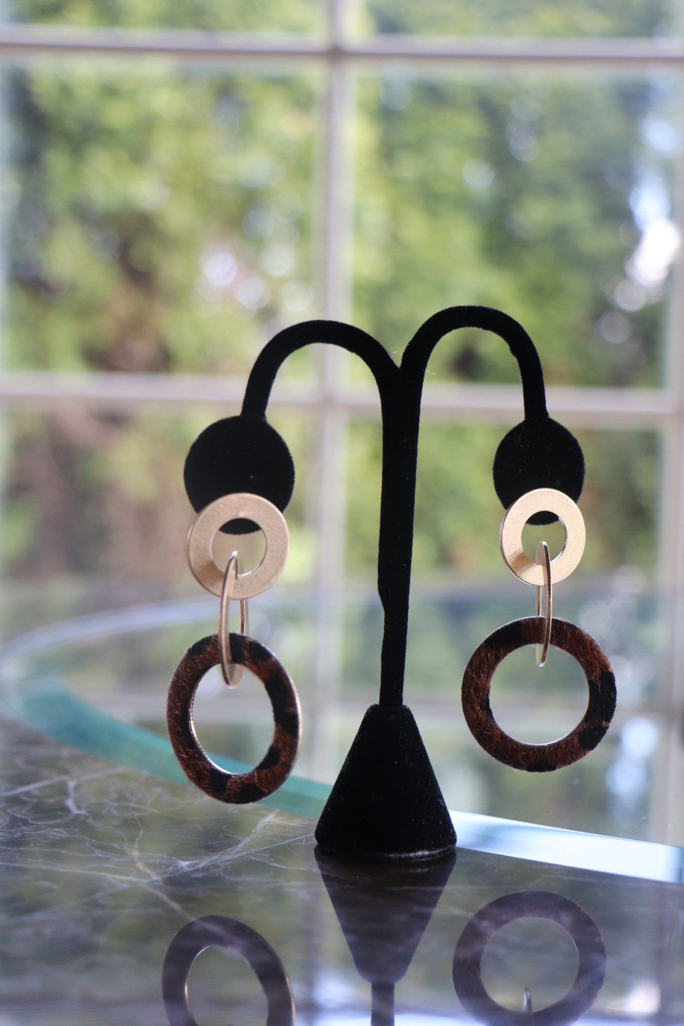 Triple Hoop  Cheetah Earrings
