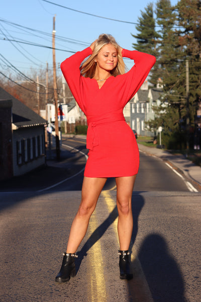 Hailey Heavenly Sweater Dress Red