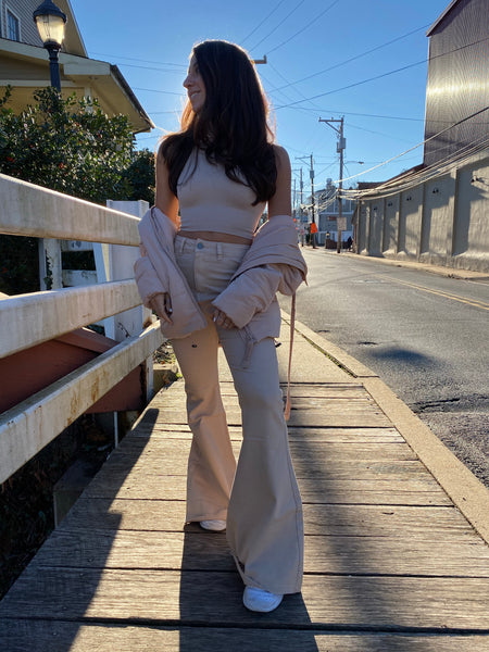 Taupe Flares High Rise