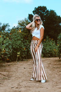 Chocolate Stripe Flare Jeans