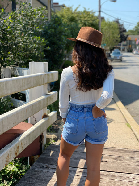 Denim Paperbag Shorts