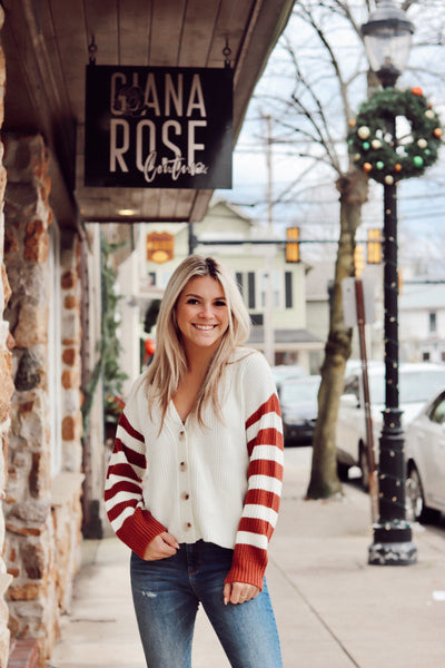 Rust Striped Cardigan