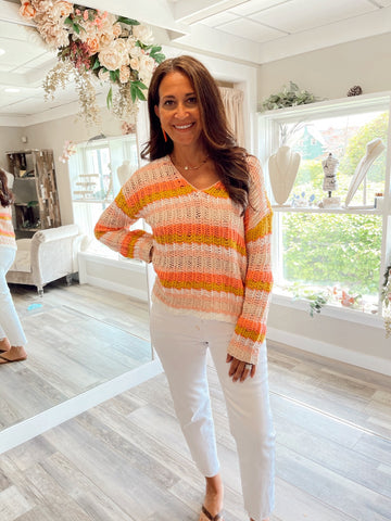 Marco Island Stripe Sweater Coral