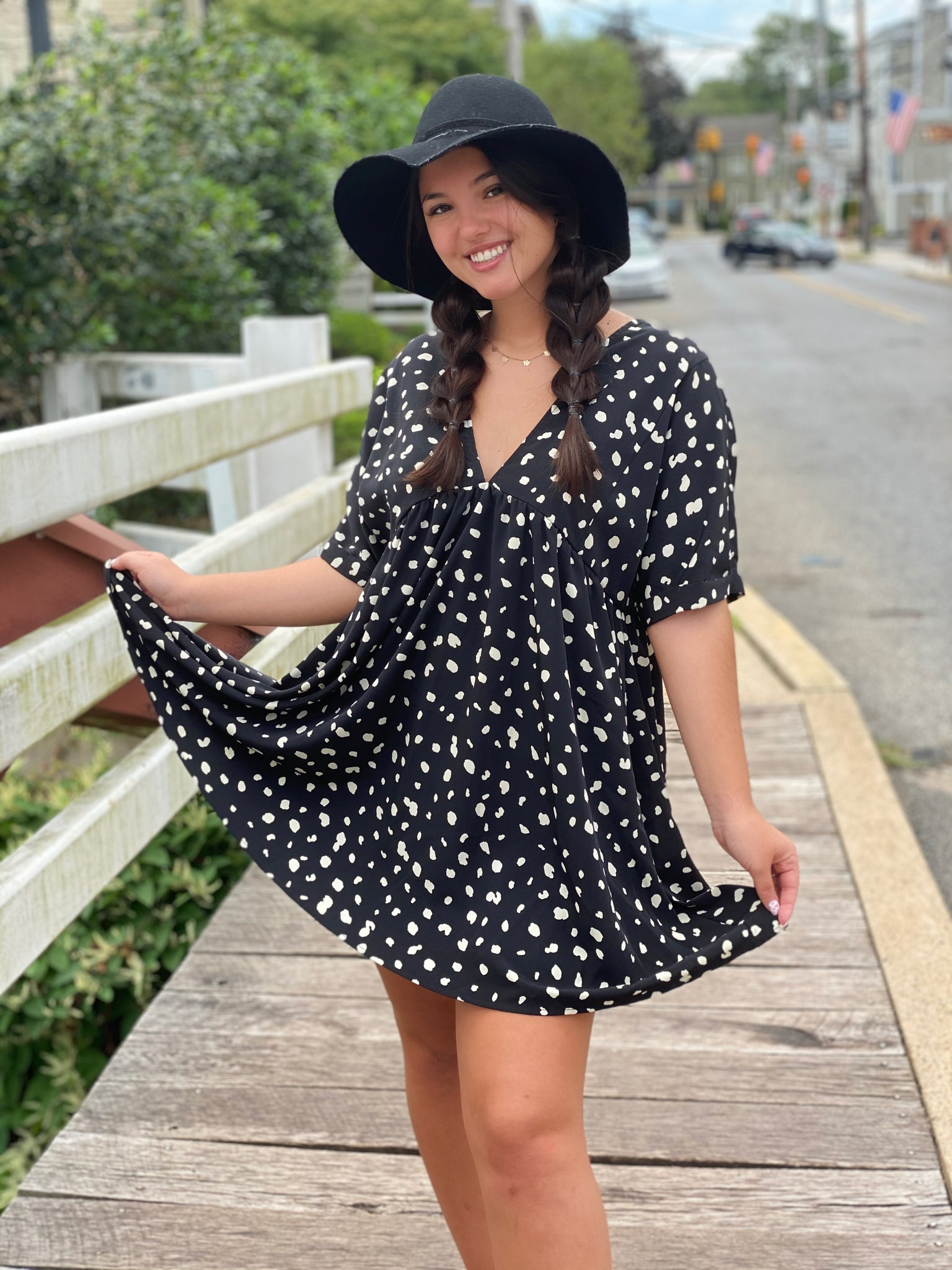 Spotted babydoll tunic