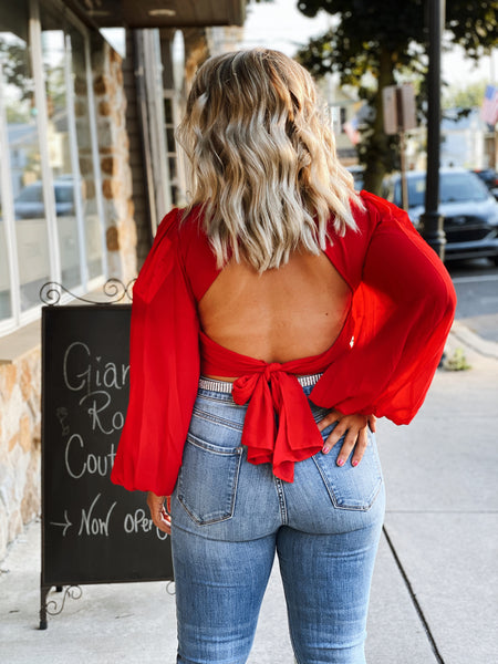 Red Puff Sleeve Blouse