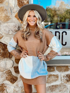Kelsey Knit Sweater Dress Camel