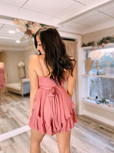 Kelly Satin Romper Rose