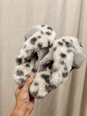 Furry Leopard Slippers