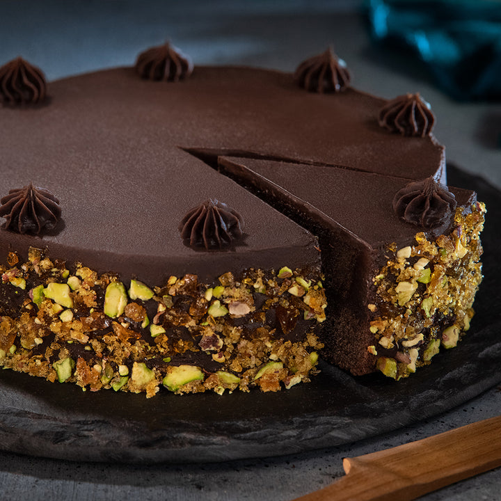 Double Chocolate with Caramelised Pistachio (Eggless) - Order Cakes Online - Amintiri Bangalore