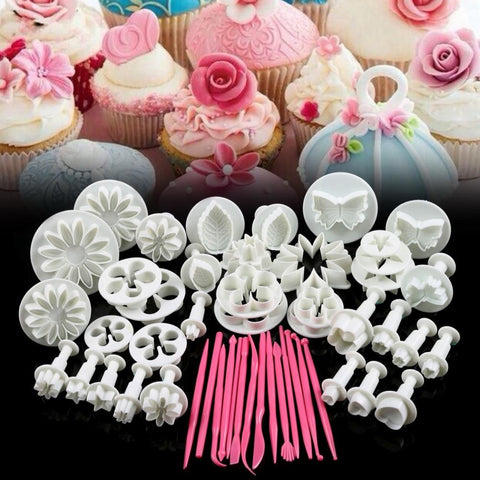 46 Pcs/set Flower Sugarcraft Silicone Mold