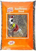 Valley Farms Black Oil Sunflower Seed is a Wild Bird Food to attracts many kinds of birds such as jays, sparrows, cardinals, tufted titmouse, nuthatch, finch, and doves making it one of the most popular bird foods. UPC 0 47961 24210 0
