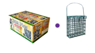 St. Albans Bay Suet Plus High Energy -Wild Bird Suet -Extra Value 10 Pack PLUS 1 Suet Feeder!