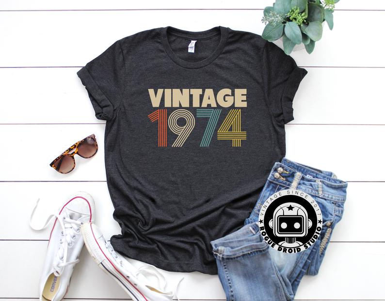 45th Birthday Gifts For Women Vintage 1974 Shirt