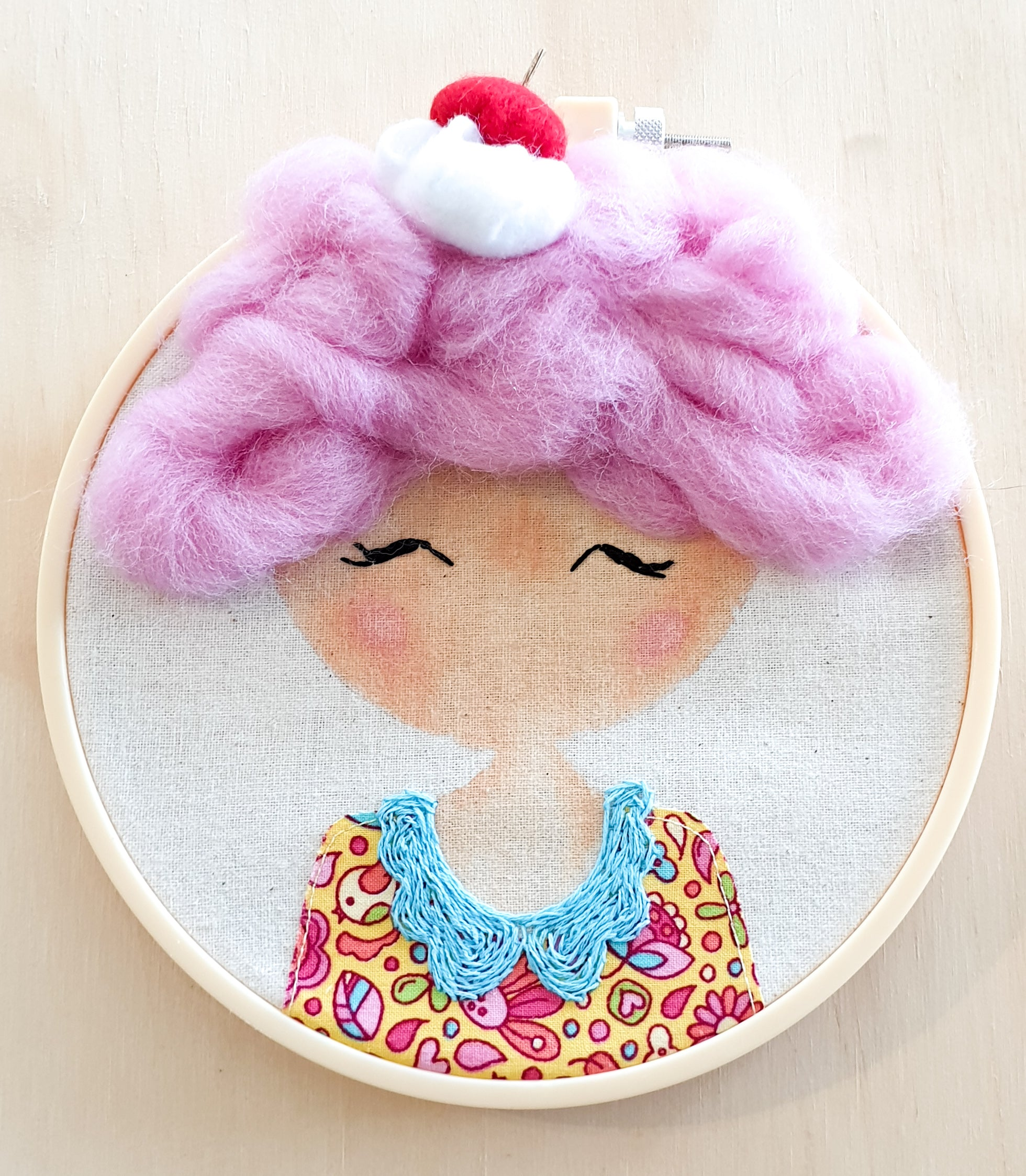 Hoop art doll - Wall hangable doll