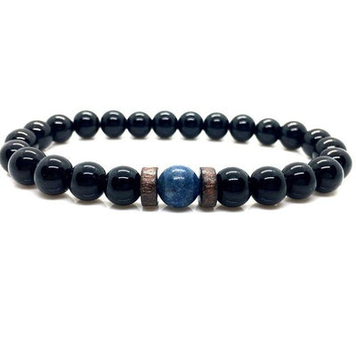 Natural Moonstone & Lava Stone Bracelet for Success, Good Fortune, Strength & Courage
