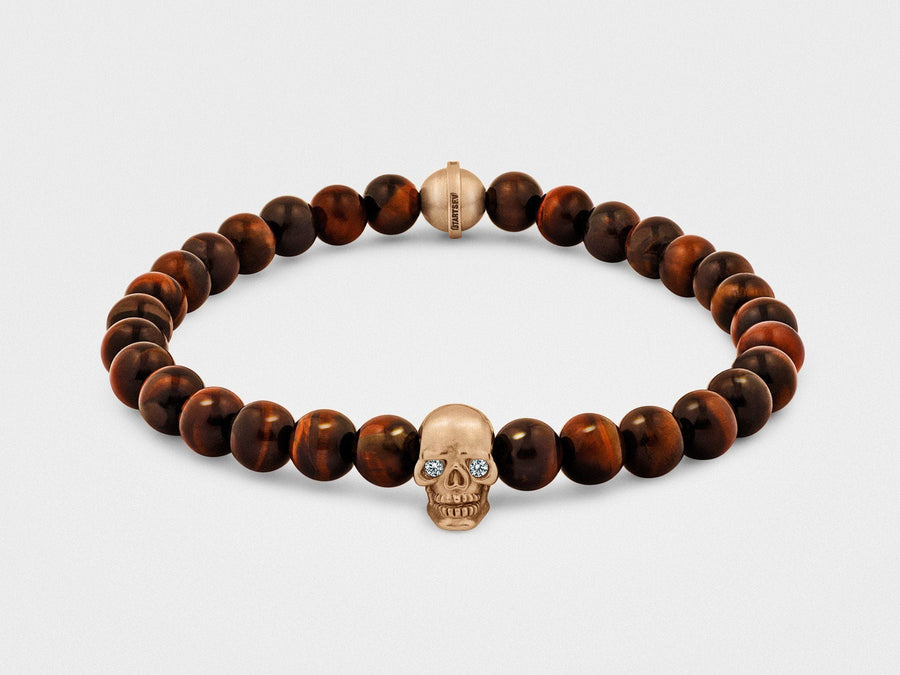 Skull Bracelet in 18KT Gold with Diamond Eyes and Red Tiger Eye - Chad McMillan Shop