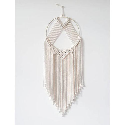 White Cotton + Brass Hoop Macrame Dreamcatcher - Chad McMillan Shop
