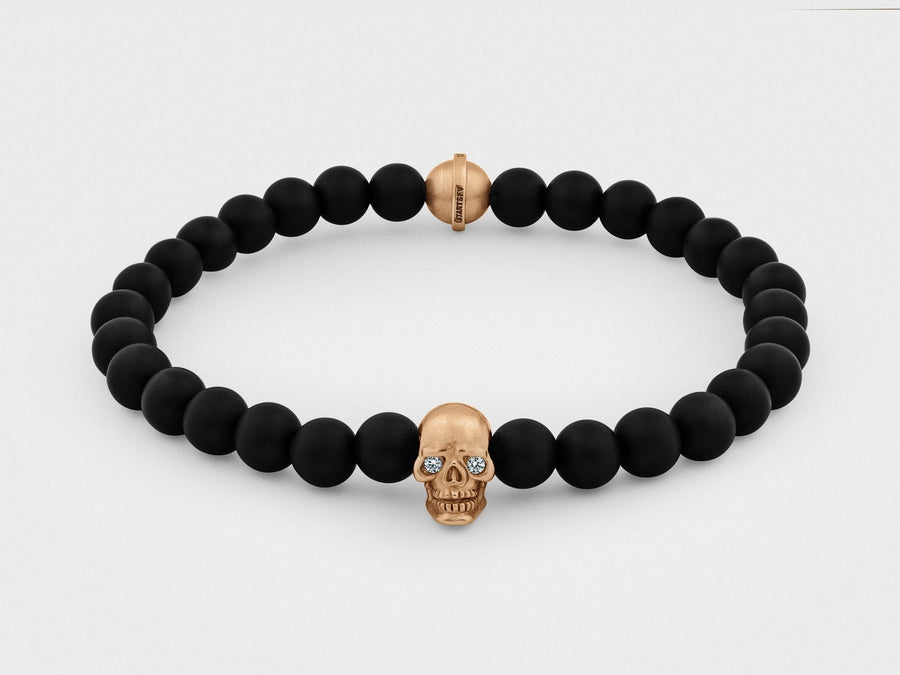 Skull Bracelet in 18K Gold with Diamond Eyes and Black Onyx - Chad McMillan Shop