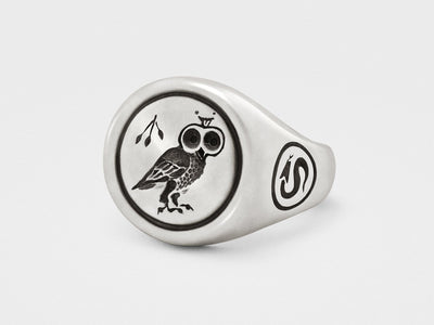 Owl Signet Ring in Sterling Silver - Chad McMillan Shop