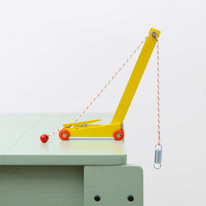 DUOTONE CAR YELLOW CRANE | Gelber SPIELZEUG-KRAN aus Holz | 200 Stck. Limited Edition | Floris Hovers | Ikonic - Charles & Marie