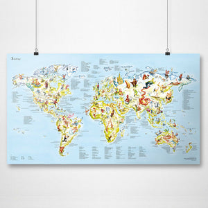 GOLF MAP | Illustrierte Golf-Sport WELTKARTE | 98x56cm | Awesome Maps - Charles & Marie